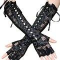Женские перчатки, длинные сетчатые перчатки в сеточку, кружевные повязки на руку, перчатки с полупальцами, атласные ленты, клевые готически...