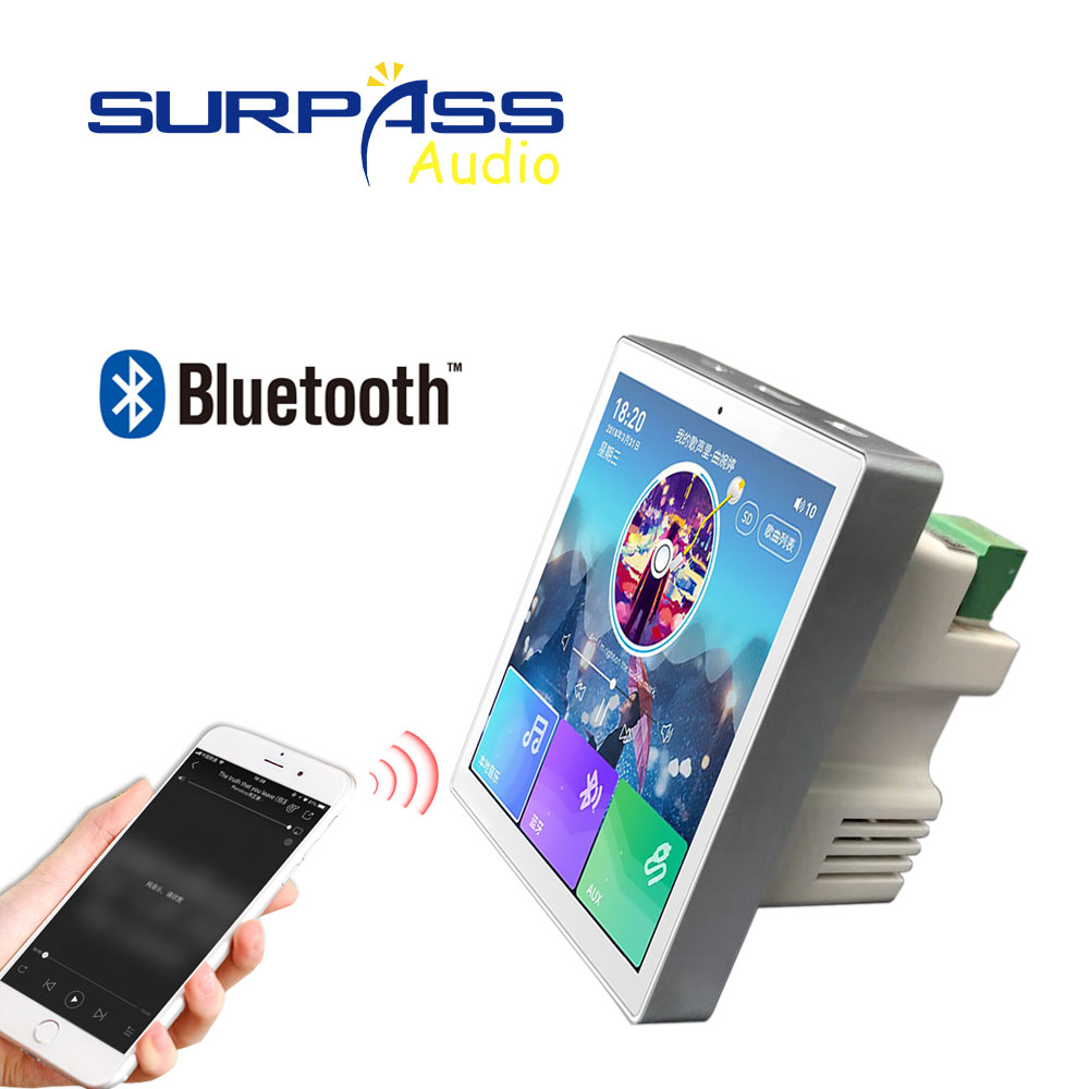 Smart Home Audio System Music Player 2,4 Channel 4inch Mini Touch Screen Wireless Bluetooth In Wall Amplifier with FM Radio,USB 1