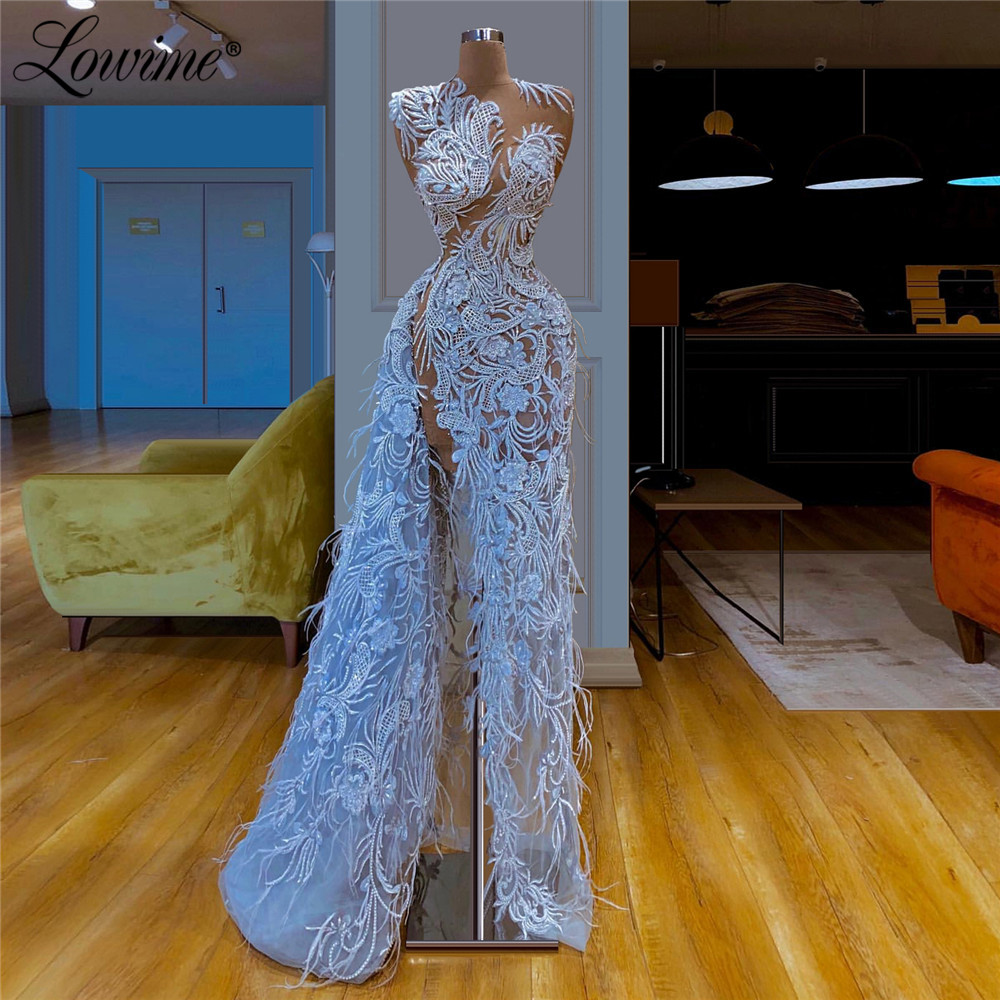 Special Design Blue Evening Dresses 2020 New Coming Mermaid Lace Dubai Arabic Party Dress African Prom Dresses Gown Illusion