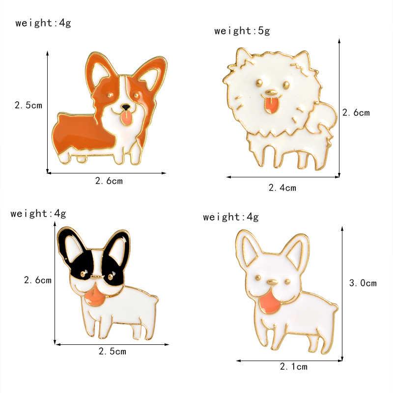 Различные порода щенков нагрудные булавки милые собаки смайлик язык из броши значки рюкзак шпильки ювелирные изделия подарки для друзей