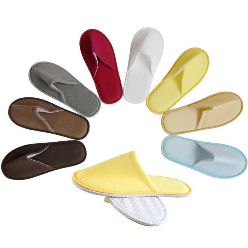 Eenvoudige Unisex Slippers voor Vrouwen Mannen Hotel Reizen Spa Draagbare Slippers Wegwerp Thuis Gast Indoor Katoen Stof Zachte Slippers