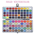 50/72/90/100 Colors Solid Watercolor Paint Set Contains Pearl Fluorescent Glitter Metallic Macaron Color Drawing Art Supplies