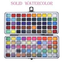 50/72/90/100 cores sólido aquarela pintura conjunto contém pérola fluorescente brilho metálico macaron cor desenho arte suprimentos