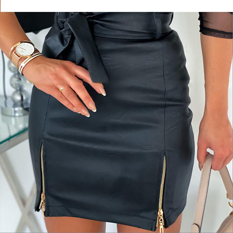 Women  PU Leather Motor Storm Skirt Zipper Belt Autumn Winter Short Female Skirt High Waist Pencil Ladies Mini Skirt