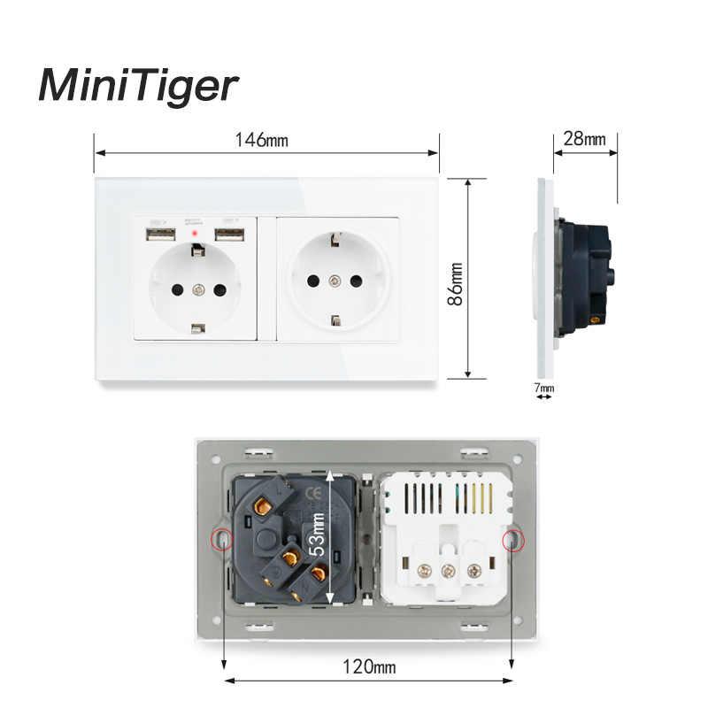 Minitiger 2 Gang enchufe de pared estándar de la UE Rusia España con 2 puertos de carga USB, Panel de cristal con indicador LED suave oculto