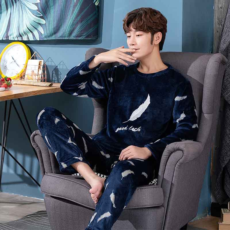 Thick Warm Print Flannel Pajama Set For Men 2019 Winter Long Sleeve Coral Velvet Sleepwear Suit Loungewear Homewear Home Clothes