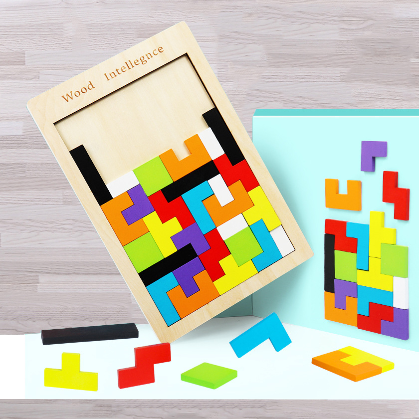Tetris wooden puzzle building joy game children early  educational toys