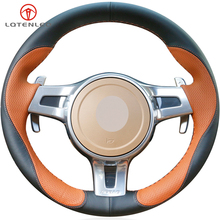 LQTENLEO Brown Black Leather Steering Wheel Cover For Porsche Cayenne Cayman 2010 2014 Panamera 2010 2016 911 Boxster 2009 2015