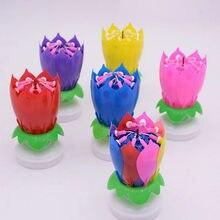 Romântico vela musical flor de lótus vela feliz aniversário festa arte vela luzes para diy decoração do bolo crianças presente # t1p