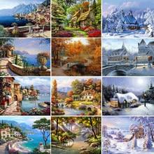 Алмазная 5D мозаика, картина из круглых страз с вышивкой пейзажа, вышивка крестиком, зимний домашний декор, подарок