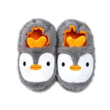 Зимние милые детские тапочки с пингвином; удобные детские теплые хлопковые тапочки для мальчиков и девочек; домашние плюшевые тапочки с животными