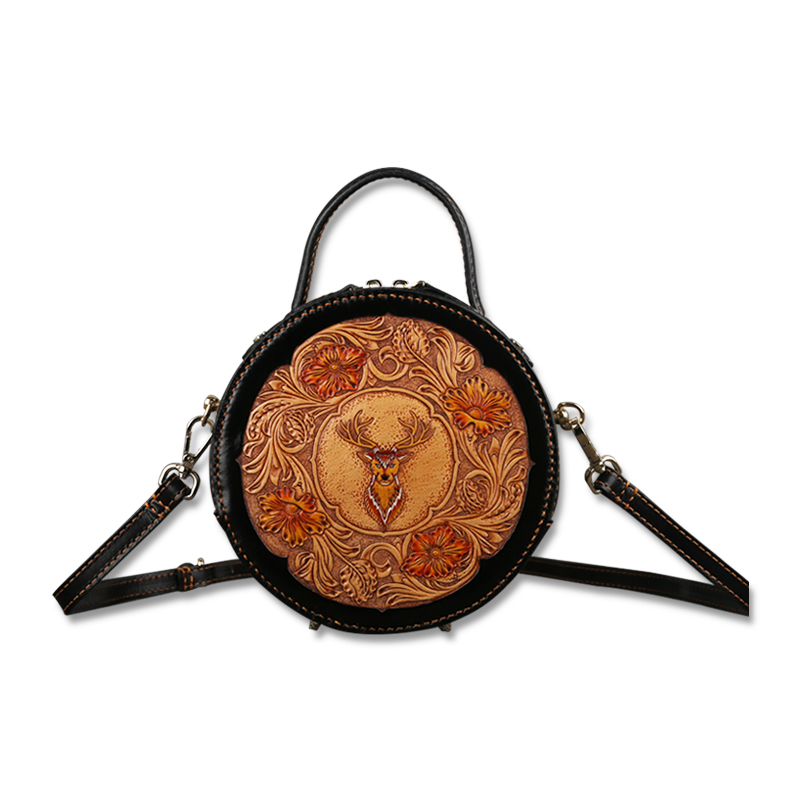 Sac en cuir pour femme rétro couche de tête cowhand original dames sac à main bandoulière en cuir sculpté petit sac rond rétro classique
