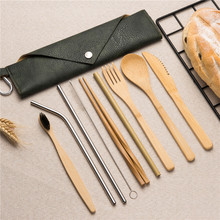 Japanese Reusable Wooden Cutlery Set Bamboo Fork Spoon Knife Sets Straw with Cloth Bag Kitchen Food Tools