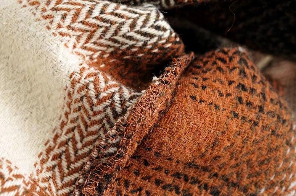 H5a2db579fa024a83a57f85c8ceb96febV Vintage women 2019 long sleeve woolen coats fashion ladies thick plaid coat female streetwear elegant girls oversize jacket chic