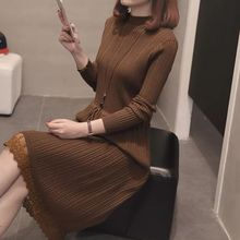 Lace Bottom Dresses Autumn Women 2019 New Mid-long Womens Knitted in and Winter