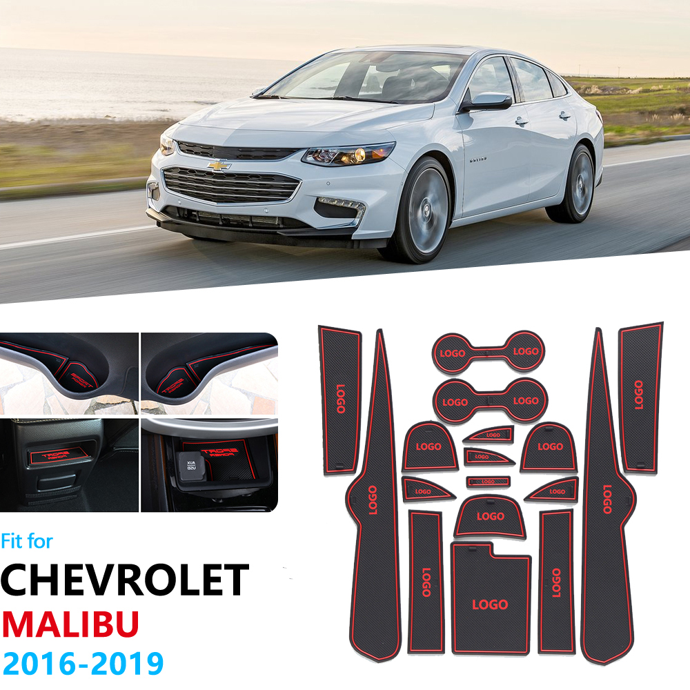 Anti-Slip Rubber Gate Slot Cup Mat For Chevrolet Malibu 2016 2017 2018 2019 9th Gen MK9 Accessories Car Stickers Pad Coaster