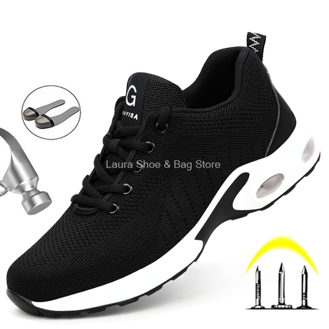 Fashion Safety Shoes Men Steel Toe Shoes Anti-puncture Work Sneakers Indestructible Work Sefety Boots Male Shoes Work Boots 2