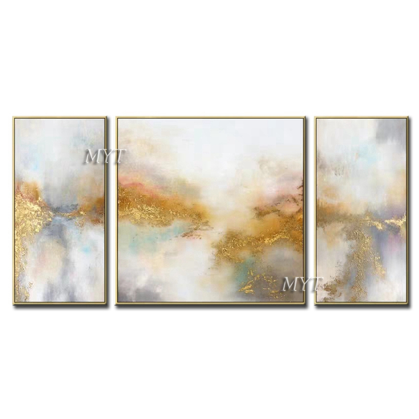 3 Pieces Canvas Art Hand-painted Abstract Gold Oil Painting Wall Art Modern Newest Home Decor Paintings 3 Panels Wall Art Decor