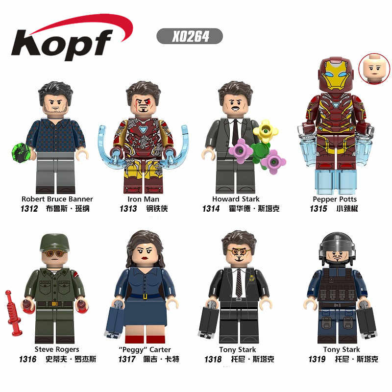 Single Sale Building Blocks Super Heroes Robert Bruce Banner Iron Man Pepper Tony Stark Steve Figures For Children Toys X0264
