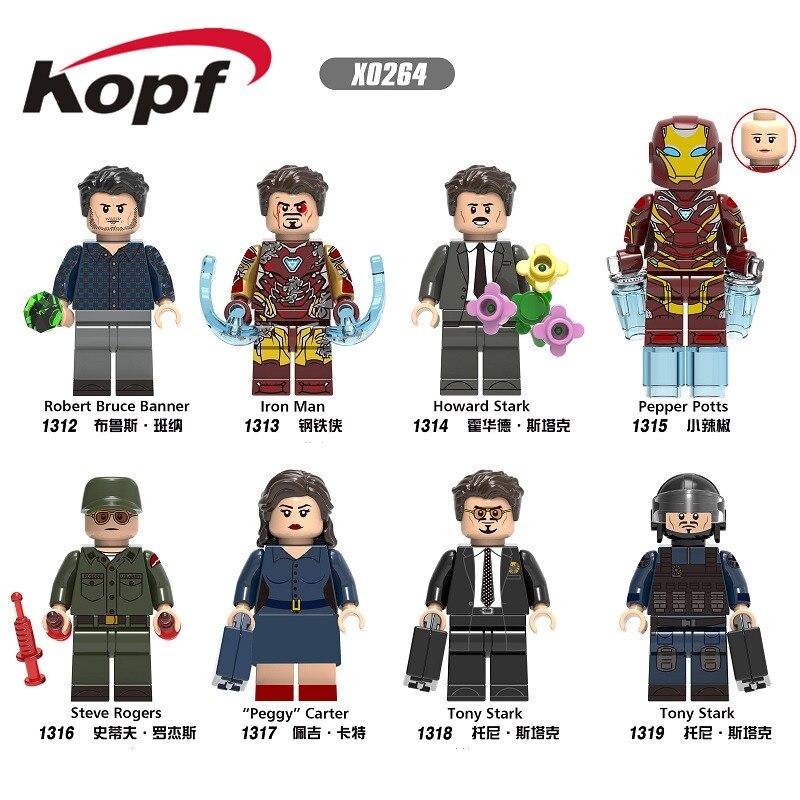 Single Sale Building Blocks Super Heroes Robert Bruce Banner Iron Man Pepper Tony Stark Steve Figures For Children Toys X0264