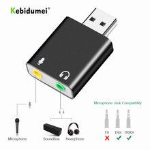 Kebidumei externo usb placa de som interface áudio adaptador fone de ouvido soundcard para microfone alto-falante computador portátil placa de som