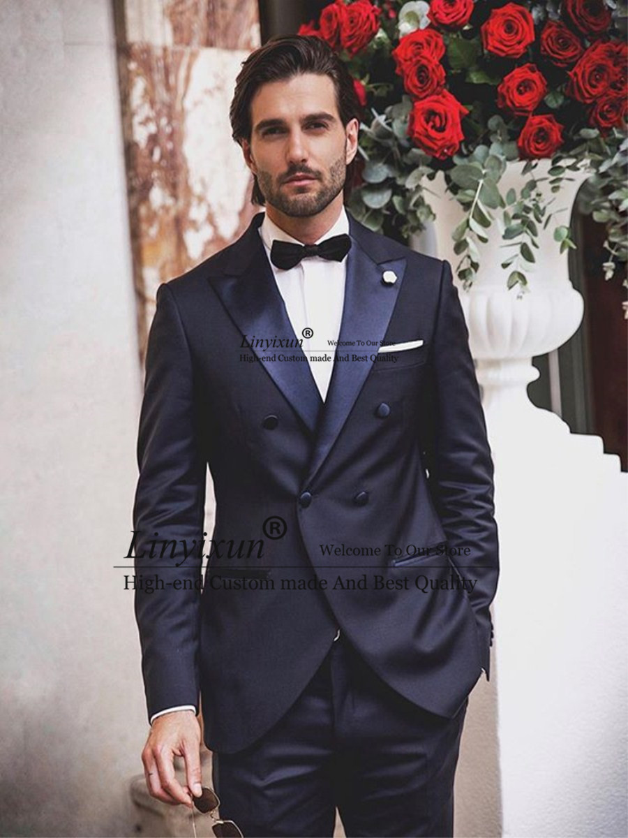 2020 Mens Suits Polyester Blend 2 Piece (Coat+Pants) Peaked Lapel Terno Masculino Formal Wedding Suits For Groom Custom Made