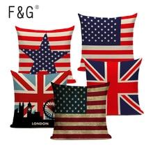 Funda de almohada a rayas de Estados Unidos con bandera inglesa jack y bandera americana, 45Cm x 45Cm, Cojín cuadrado con estampado de cama King Size