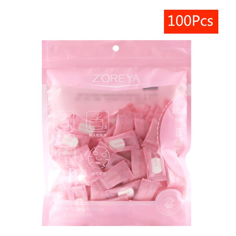 100Pcs Compressed Facial Face Mask Peel Sheet Cotton Cleaning Skin Care T4MB
