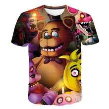 3-14 anos crianças manga curta camiseta cinco noites no freddy 3d impressão t-shirts meninos meninas verão moda