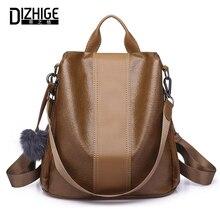 DIZHIGE Brand Vintage PU Anti-theft Women Backpack Multifunctional School Bag For Teenager Girl Large Capacity FUr Backpacks New