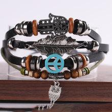 Мужской многослойный браслет из кожи винтажный в стиле панк