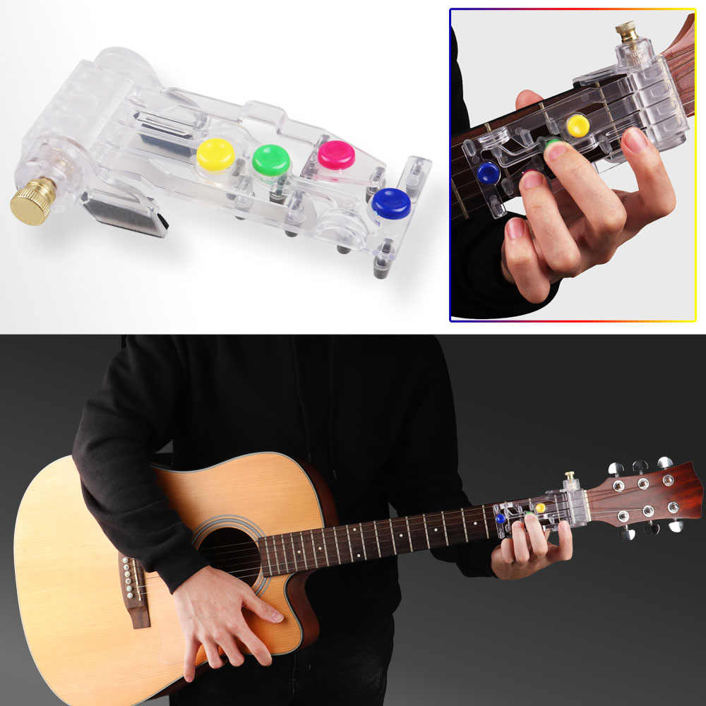 Guitar Beginner Assistant Learning Tool Buddy,One-Key Chord,Guitar Practice Aid Tool,Classical Guitar Chord Practice Tool,Just Press and Play(With 8 Finger Protectors and 4 Picks)