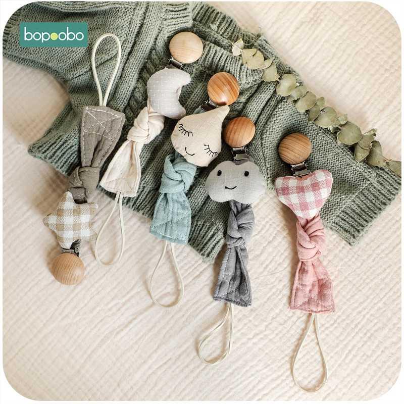 Bopoobo, 1 unidad, muñeco de bebé, cadena con clip para chupete, tela de algodón, felpa, juguetes de animales, chupete, soporte para pezones, juguete recién nacido, accesorios de alimentación