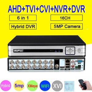 HI3531D H.265 + Xmeye 5 Мп 16 каналов 16 каналов аудио 6 в 1 Wi-Fi Гибридный коаксиальный ONVIF TVi CVI IP NVR AHD DVR