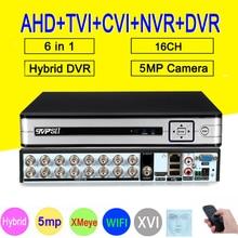 Splitter Panel HI3531D H.265 + Xmeye 5MP 16CH 16 Kanal 6 in 1 Audio WIFI Hybrid Koaxial ONVIF TVi CVI IP NVR AHD CCTV DVR