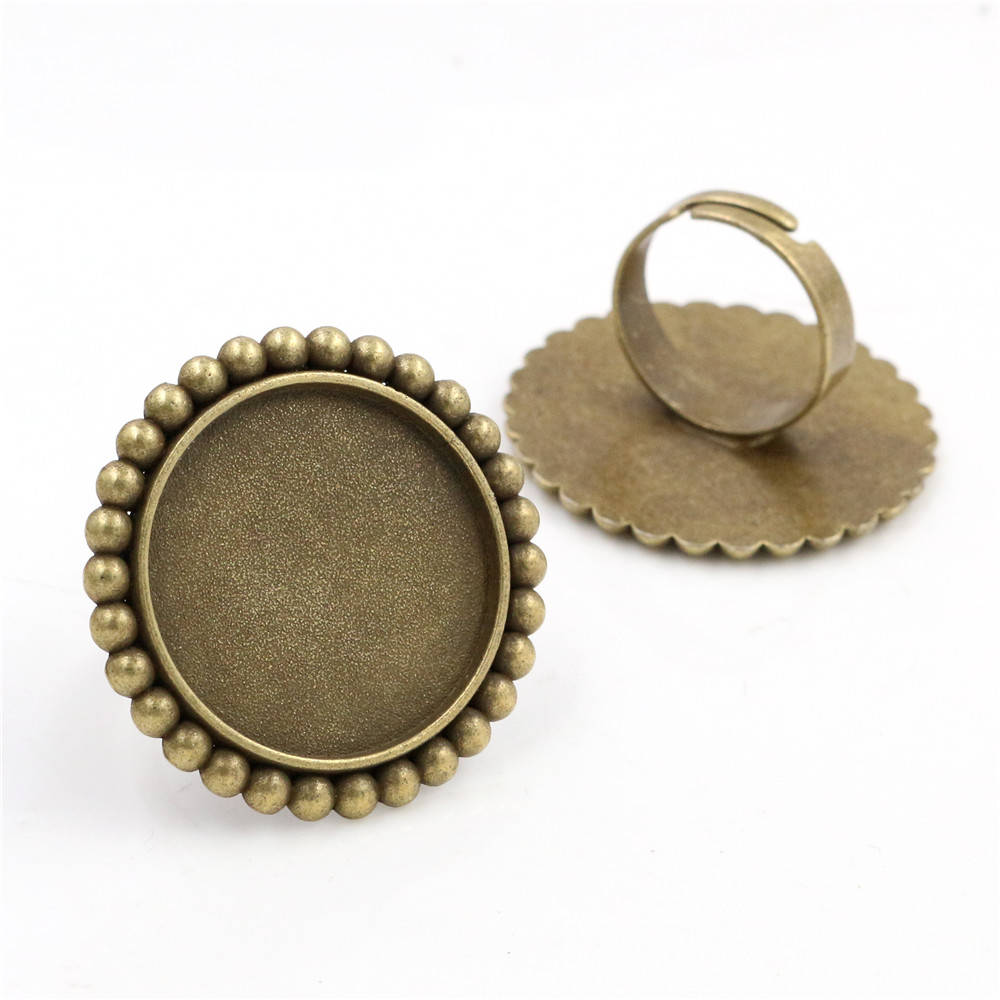 25mm 4pcs Antique Bronze Plated Brass Adjustable Ring Settings Blank/Base,Fit 25mm Glass Cabochons,Buttons;Ring Bezels -K1-08