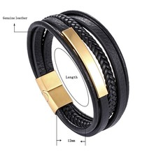 MIMCN Bracelet Mens Multilayer Magnet Cool Boy Leather Stainless Steel Metal