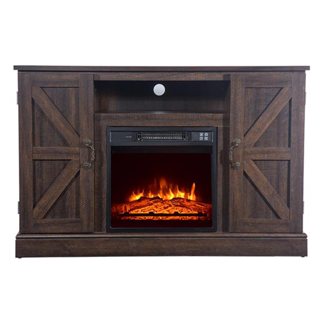 47'' Log Brown TV Cabinet with 1400W Fireplace Heater  1