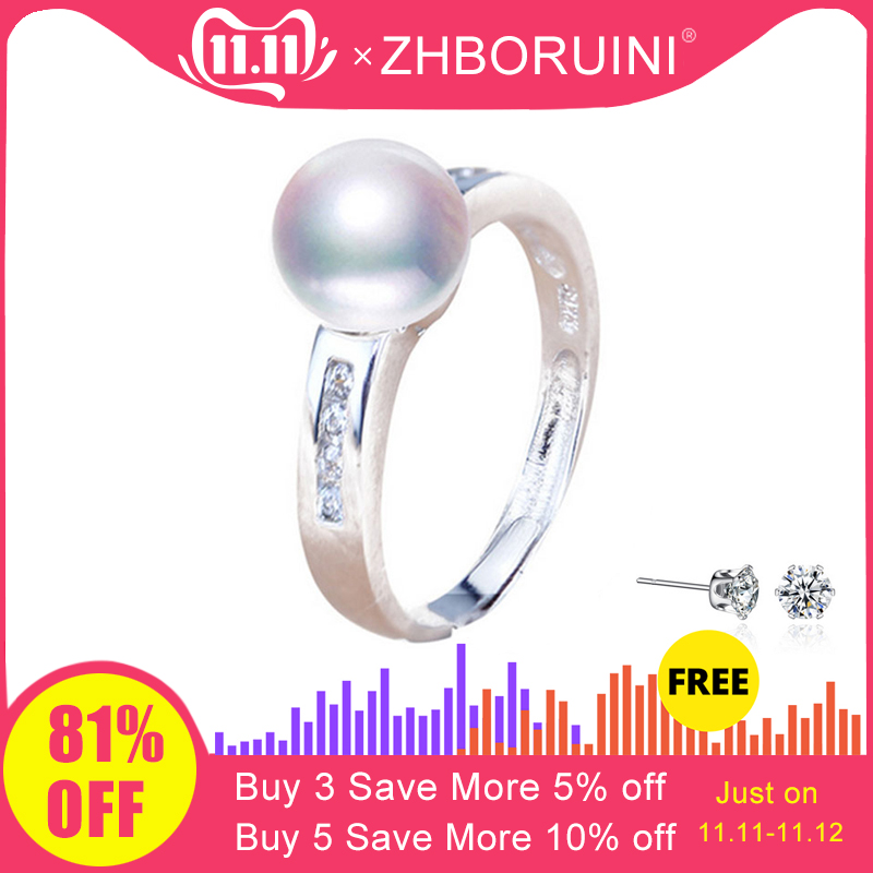 ZHBORUINI 2019 Fashion Pearl Ring 8-9mm AAA Zircon Natural Freshwater Pearl Jewelry 925 Sterling Silver Rings For Women Gift