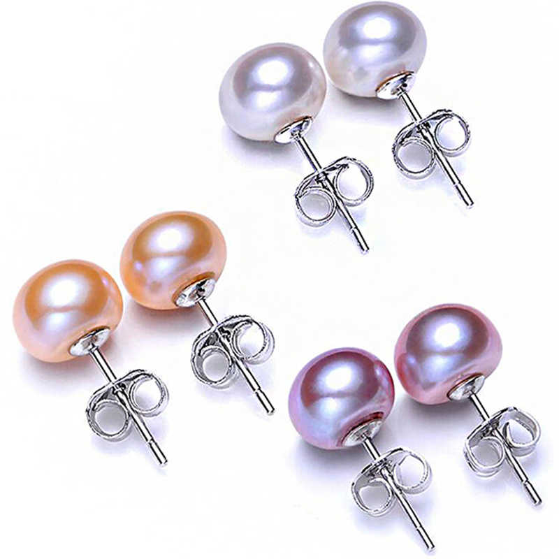 Hot Sale 100% 925 Sterling Silver Natural Pearl Earrings 4 Color 6mm 7mm 8mm 9mm Classic Fashion Charm Women Jewelry Gift