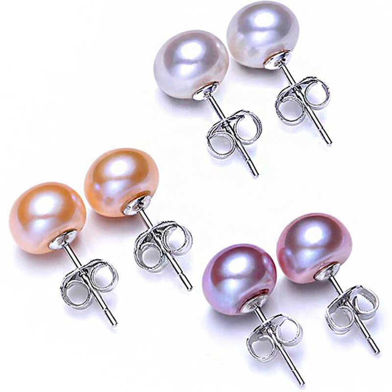 ขายร้อน 100% 925 เงินสเตอร์ลิงธรรมชาติ Pearl ต่างหู 4 สี 6 มม.7 มม.8 มม.9 มม. แฟชั่น Charm ผู้หญิงเครื่องประดับของขวัญ