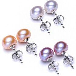 Heißer Verkauf 100% 925 Sterling Silber Natürliche Perle Ohrringe 4 Farbe 6mm 7mm 8mm 9mm Klassische mode Charme Frauen Schmuck Geschenk