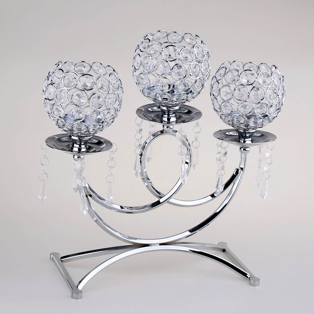 Photophore en métal cristal 3 bras bougeoir 36cm de hauteur événement de mariage candélabre bougie bâton décor artisanat
