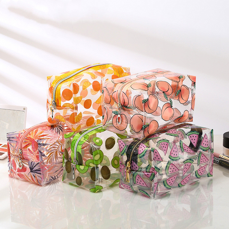 Transparent Waterproof Fruit Cosmetic Bags Cute Storage Pouch Makeup Organizer Clear Case Toiletry Bag PVC Zipper Travel Bags