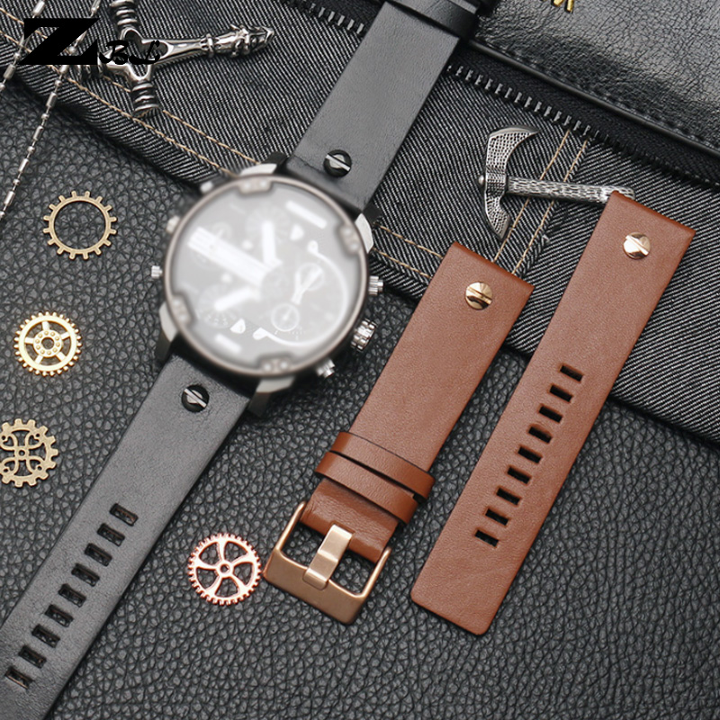 Genuine Leather Watch Strap 22 24 26 28 30mm Watchband With Rivet For Diesel DZ7406 DZT2009 DZ7413 DZ4343 Watch Band Bracelet