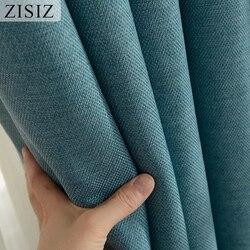 ZISIZ cortina opaca moderna para sala de estar dormitorio Color sólido aislamiento térmico cortinas oscuras altas cortinas