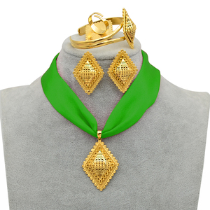 Image 4 - Anniyo DIY Rope Ethiopian Jewelry set Pendant Necklaces Earrings Bangle Ring Gold Color Eritrea Habesha Jewellery Sets #218406