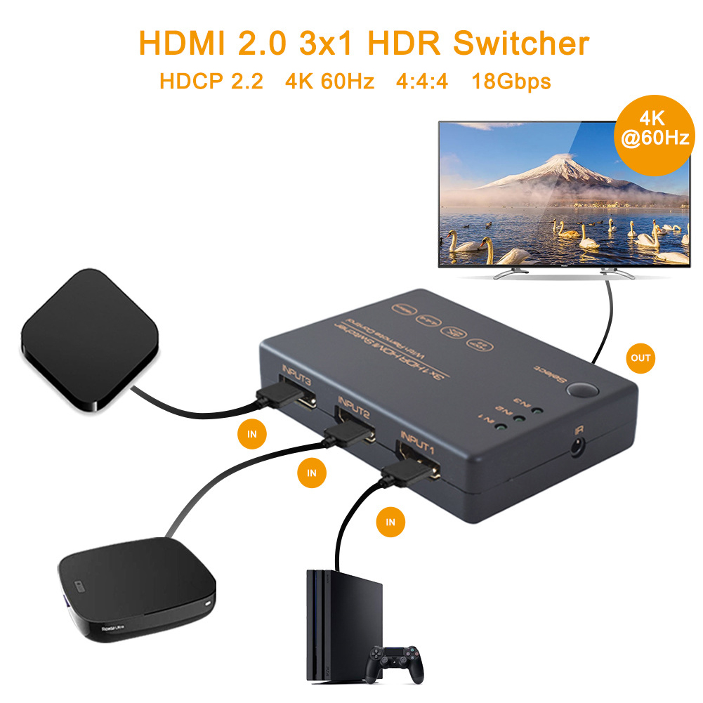 3 In 1 Out Multi Ways Wide Range IR Remote Control HDTV HDPC2.2 Computer Splitter With HDMI Cable HDR Switcher 18Gbps 4K 60Hz