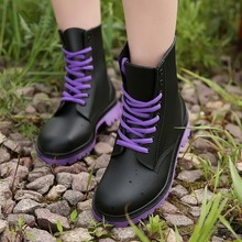 Women's Rain Boots Waterproof Shoes Woman Water Shoes Rubber Lace Up PVC Martin Boots Sewing Solid Fashion Rainboots