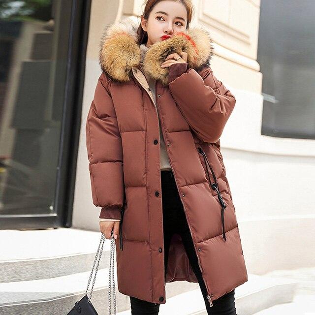 חורף סלעית חם למטה מעיל נשים מקרית ארוך למטה מעילי גבירותיי לעבות כותנה Parka בתוספת גודל הלבשה עליונה קוריאני Harajuku מעיל